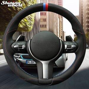 Image 3 - Glänzende weizen Schwarz Wildleder Leder Auto Lenkrad Abdeckung für BMW F87 M2 F80 M3 F82 M4 M5 F12 F13 m6 F85 X5 M F86 X6 M F33 F30
