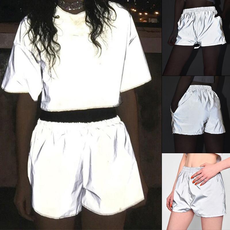 2020 Sexy Women Set Fashion Summer Flash Reflective Clubwear Shorts High Waist Luminous Shorts Silver O Neck T-shirt Mujer Set