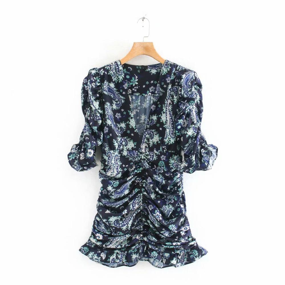 2020 New Women Vintage V Neck Cashew Nuts Flower Print Pleated Mini Dress Ladies Short Sleeve Vestidos Chic Slim Dresses DS3550