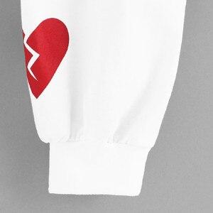 JAYCOSIN Fashion Women Heart Print Patchwork Long Sleeve Sweatshirt Elegant Chic Round Neck Casual Crop Jumper Pullover Tops
