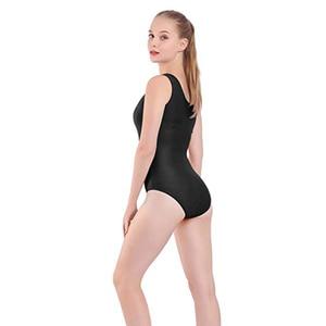 Image 3 - AOYLISEY body de Ballet réservoir noir pour femmes, léopard de danse, Scoop, cou, gymnastique, slim, Costumes de scène