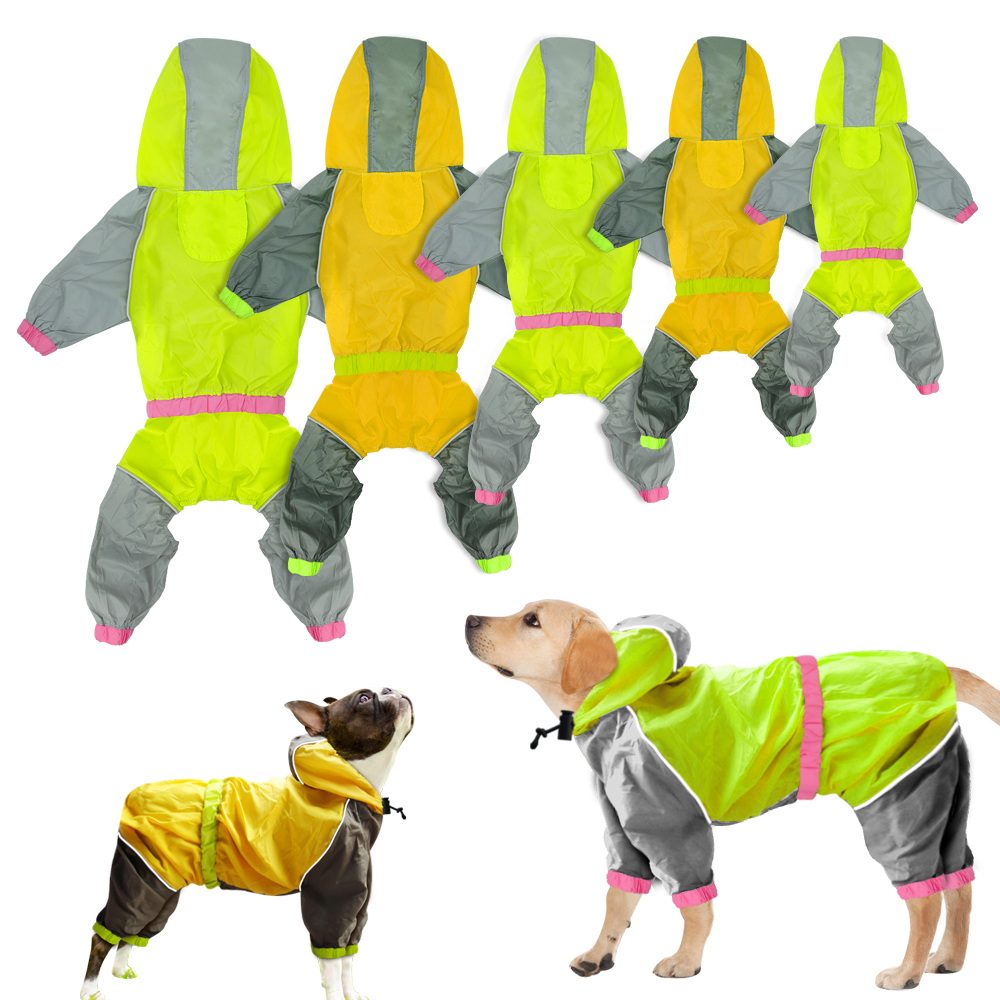 Dog Raincoat Reflective Dogs Rain Coat Dog Clothes Hoodies Waterproof Jumpsuit Rainwear Clothes For Large Dogs Labrador S-2XL