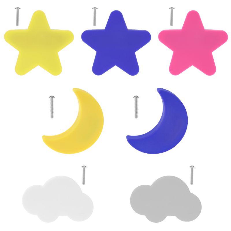 Children Anti-collision Handle Creative Door Wardrobe Drawer Furniture Handles Cartoon Star Moon Cloud Shape