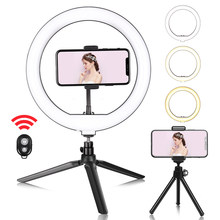 10inch Mini Selfie LED Video Ring Light Lamp With Table Tripod For YouTube Phone Live Photo Photography Studio