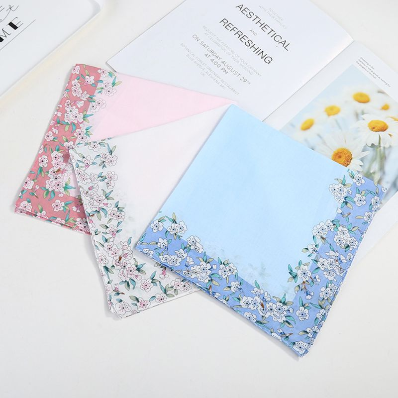 Womens Cotton Square Handkerchiefs Cherry Blossom Floral Candy Color Hanky Towel 03KF