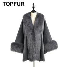 TOPFUR 2019 New Fashion Winter Female Cape Real Fur Cape For Women Three Quaeter Real Fox Fur Outerwear Bat Sleeved V-Neck Gray cape psv rombo front gray 2 pcs 129090