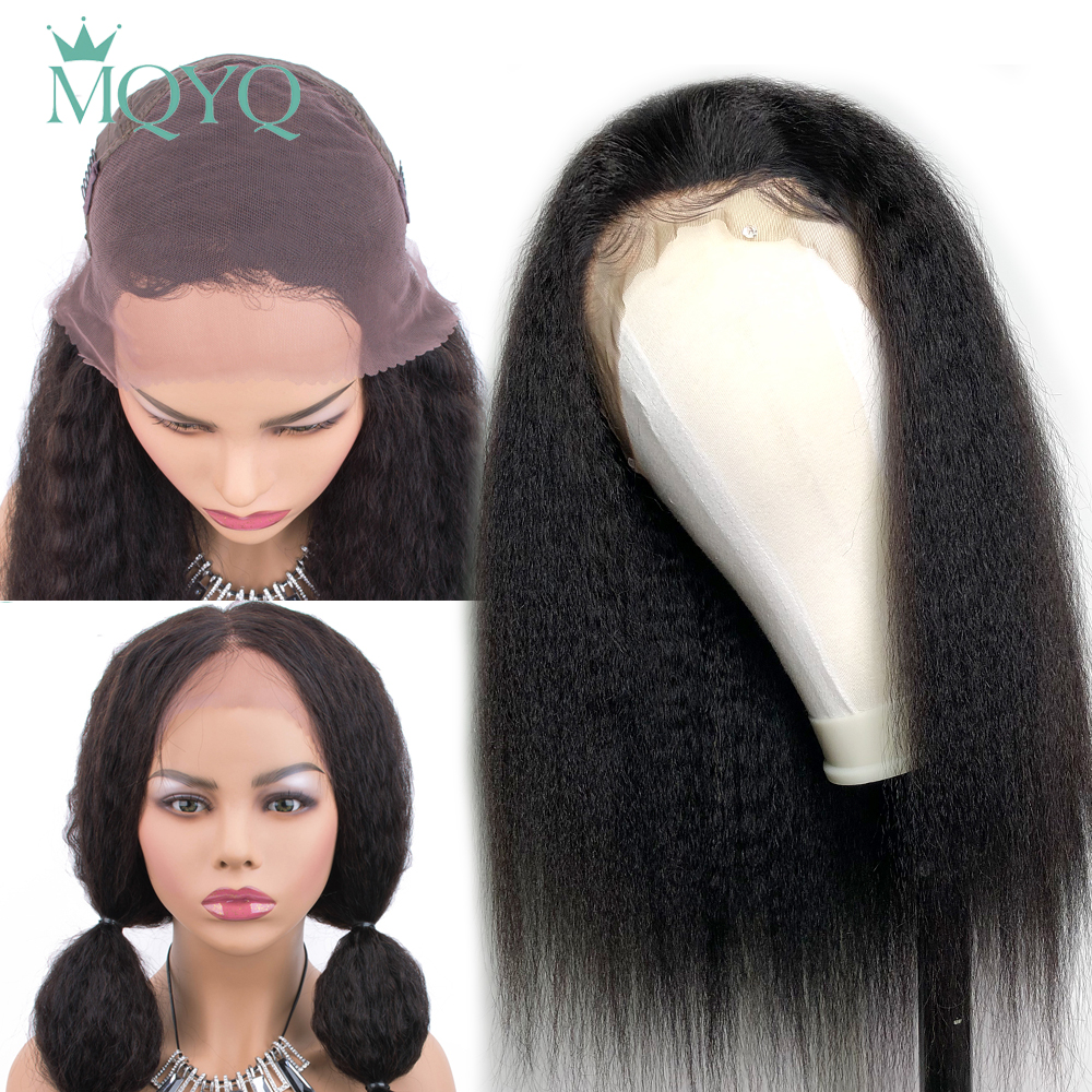 MQYQ 13*4 Lace Frontal Wigs Peruvian Kinky Straight Wig Lace Human Hair Wigs For Black Women Coarse Lace Frontal Wig Non-Remy