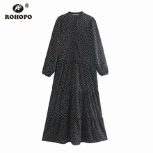 ROHOPO Round Collar Three Splice Layers Cake Polk Dot Black Midi Dress Top Buttons Fly Long Sleeve Vestido # 9278