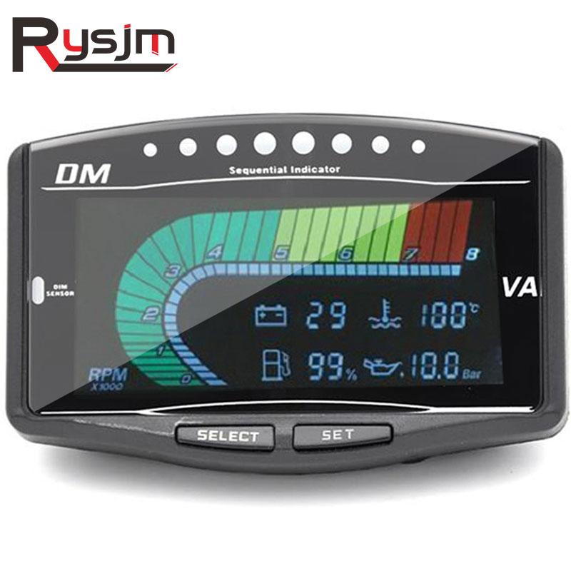 Big Deal 12v/24v Car Truck LCD Digital Oil Pressure Gauge/Volt Voltmeter /Water Temperature Gauge/Fuel Gauge /Tachometer 5 Function in 1