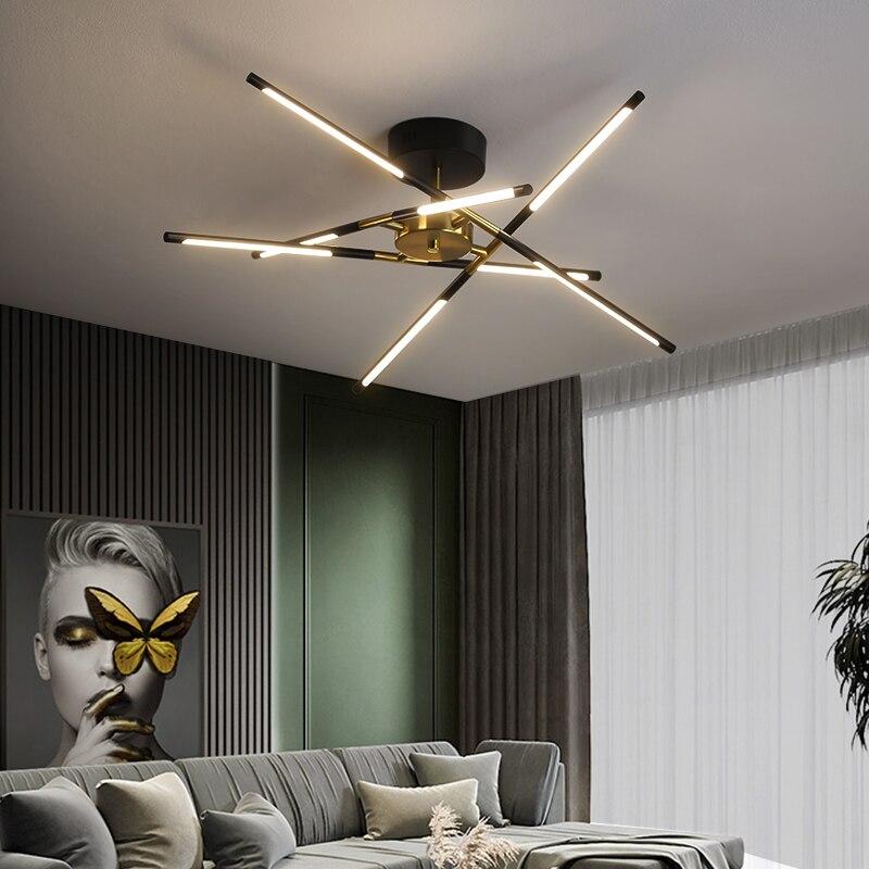 Светодиодный ная люстра в современном стиле для гостиной, столовой, кухни, Потолочный подвесной светильник в черной и золотой рамке, освеще...