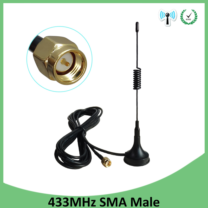 2pcs 5dbi 433Mhz Antenna 433 MHz Antena GSM SMA Male Connector With Magnetic Base For Ham Radio Signal Booster Wireless Repeater