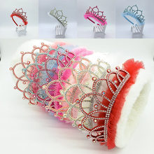 Tiara de cabeça para crianças, acessório de cabelo e festa, novo estilo, com strass, glittering, coroa, para meninas