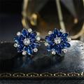 Роскошные женские серьги-снежинки с синими кристаллами, очаровательные серебряные серьги-гвоздики, винтажные свадебные серьги с цветком и...