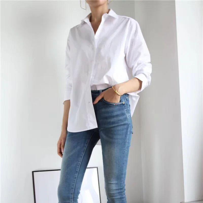 Women Shirt 2019 Autumn Winter Nordic Simple Blouse New Boyfriend Style Classic Silhouette Solid Blouses