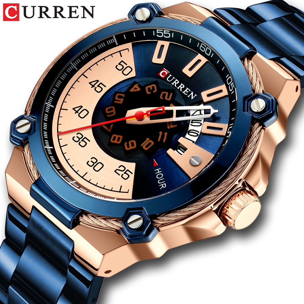 CURREN Design Watches Men's Watch Quartz Clock Male Fashion Stainless Steel Wristwatch with Auto Dat