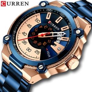 Image 1 - Часы CURREN Мужские кварцевые, дизайнерские модные деловые повседневные из нержавеющей стали с автоматической датой