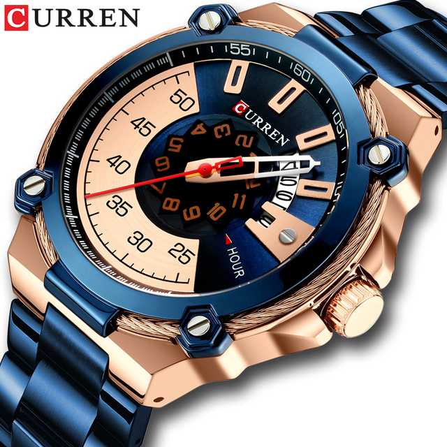 Часы CURREN Мужские кварцевые, дизайнерские модные деловые повседневные из нержавеющей стали с автоматической датой