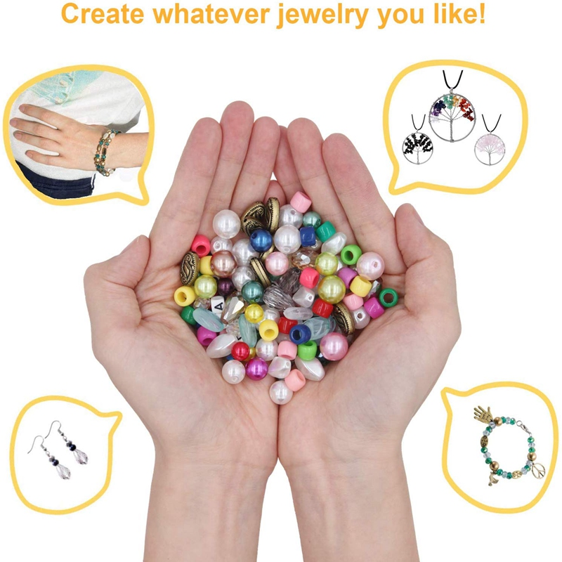 Jewelry Making Supplies Kit Jewelry Making Tools Kit Includes Beads Wire for Bracelet and Pearl Beads Spacer Beads Jewelry Plier 3