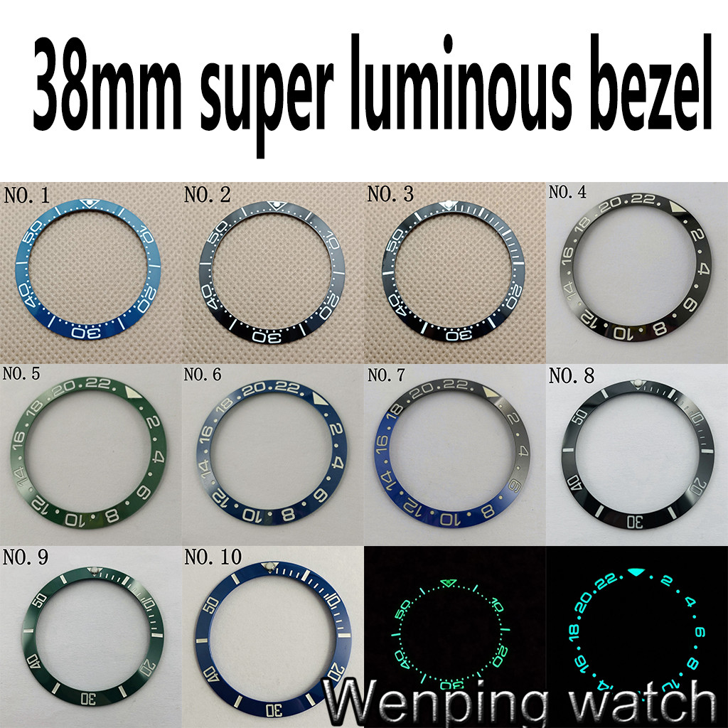 38mm Super Luminous Watch Ceramic Bezel Ring Insert Fits For 40mm GMT Watches 40mm Watch Case