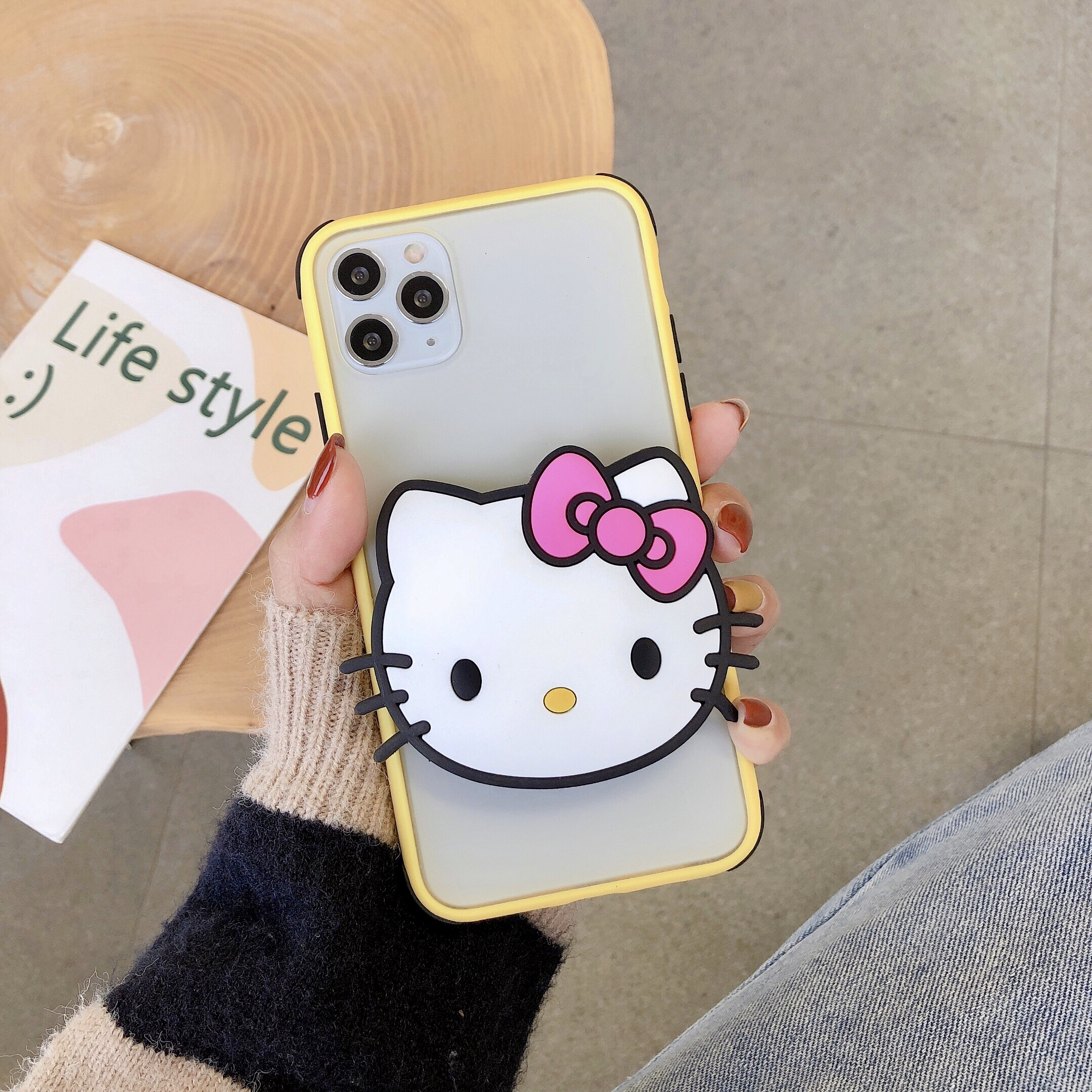 Cute Hello Kitty <font><b>Cat</b></font> Bracket Cover <font><b>Case</b></font> For <font><b>iphone</b></font> 7 <font><b>Case</b></font> Xs Max 11 6s <font><b>8</b></font> Plus X Xr Cartoon Soft TPU phone <font><b>Case</b></font> image