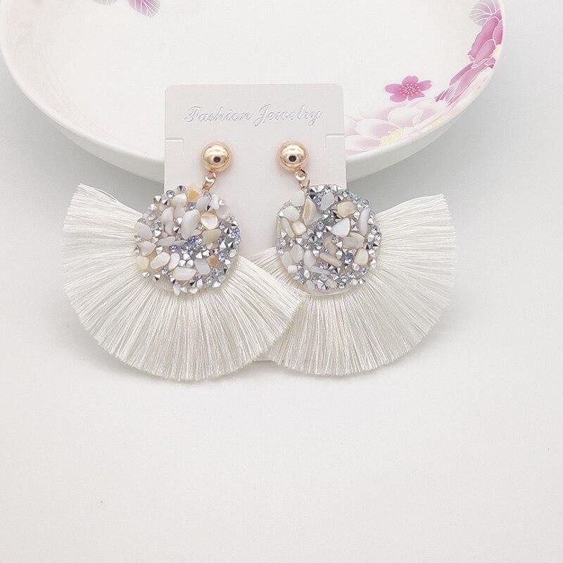 Shiny Crystal Tassel Earrings Handmade Rhinestone Pendant Statement Long Fringe Earrings for...