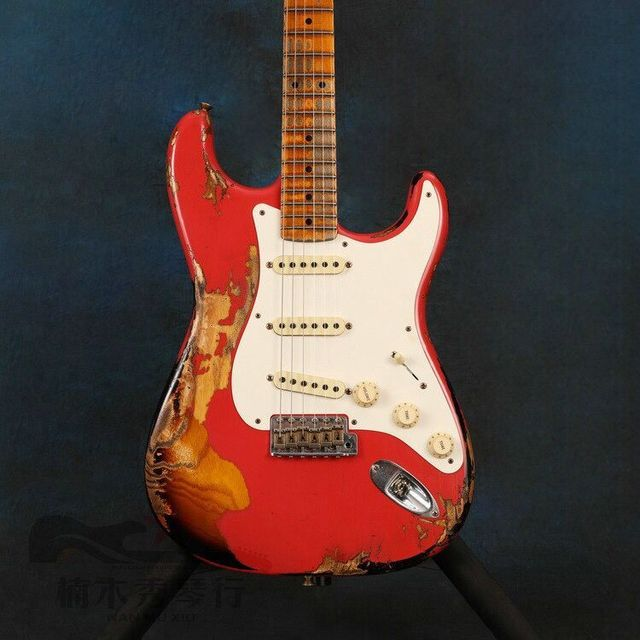 Red and sunburst color with fingerboard electric guitar , handmade relic guitar , high quality
