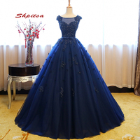 Navy Blue Puffy Quinceanera Dresses Ball Gown Masquerade 2020 Tulle Sweet 16 Sixteen Princess Flower Prom Dresses for 15 Years