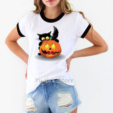 Happy Halloween shirt women funny black cat pumpkin print cartoon tshirt women's ringer tee white t-shirt camisa feminina tops men mixed striped print ringer tee