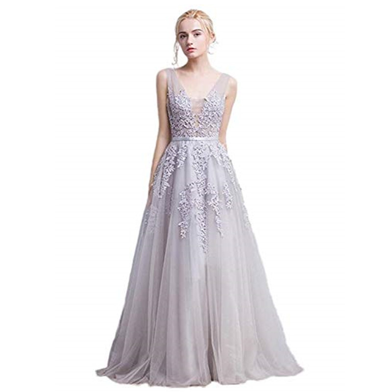 Sexy Chiffon Lace Long Evening Dress With Pearls Robe De Soiree Cheap Double V Neck Evening Gowns Formal Prom Party Dresses
