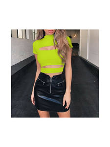 Fashion Female Casual Sexy Chest Hollow Out Crop Top Solid Sexy Women Slim Tank Tops Tee Shirt