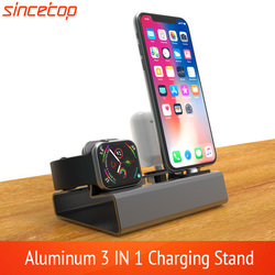 Aluminium 3in 1 Pengisian Dock untuk iPhone X XR X MAX 8 7 6 Apple Watch Airpods Charger Pemegang untuk IWatch Gunung Stand Dock Station