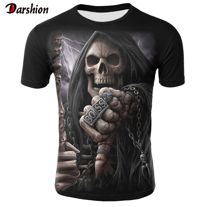 Tee-Tops T-Shirts Short-Sleeve Hipster Skull 3d Homme Funny Print Casual Summer Men/women