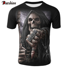 Summer New Funny Skull 3D T Shirt Summer Hipster Short Sleev