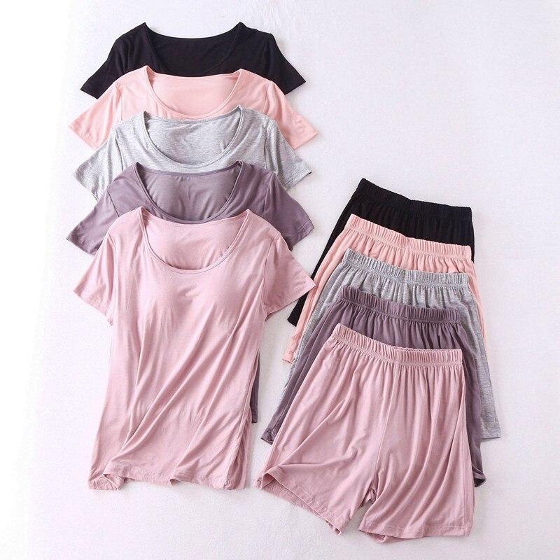 Modal Cotton Pyjama Femme New Pijamas Women Chest Pad Short Sleeve Pajamas Set Large Size Bra-cup Loose Shorts Sleepwear Set