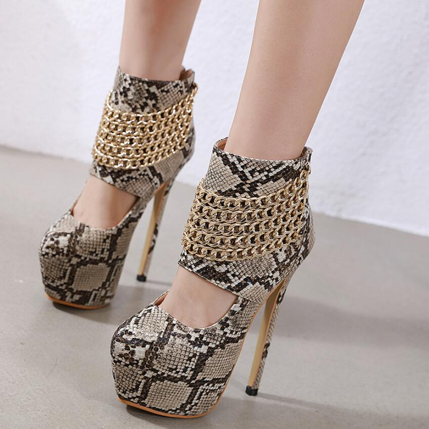 2020 Europe and America Women's Shoes <font><b>Sexy</b></font> Snake Pattern <font><b>High</b></font> <font><b>Heels</b></font> Female Platform Pumps Round Toe with Chain Hollow out <font><b>17cm</b></font> image