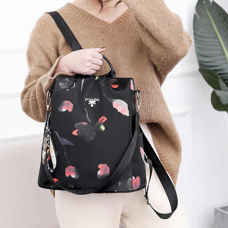 Moda urso chaveiro grande capacidade mochila moda anti-roubo mochilas femininas de alta qualidade à prova doxford água oxford mochila feminina