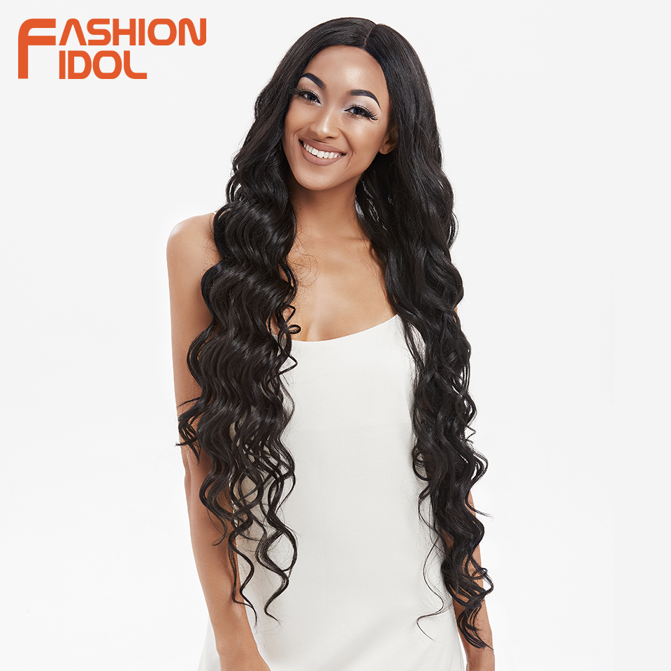 FASHION IDOL Synthetic Lace Front Wig Natural Hair Wig Black 42Inch Deep Wave Super Long Wavy Synthetic Wigs For Black Women