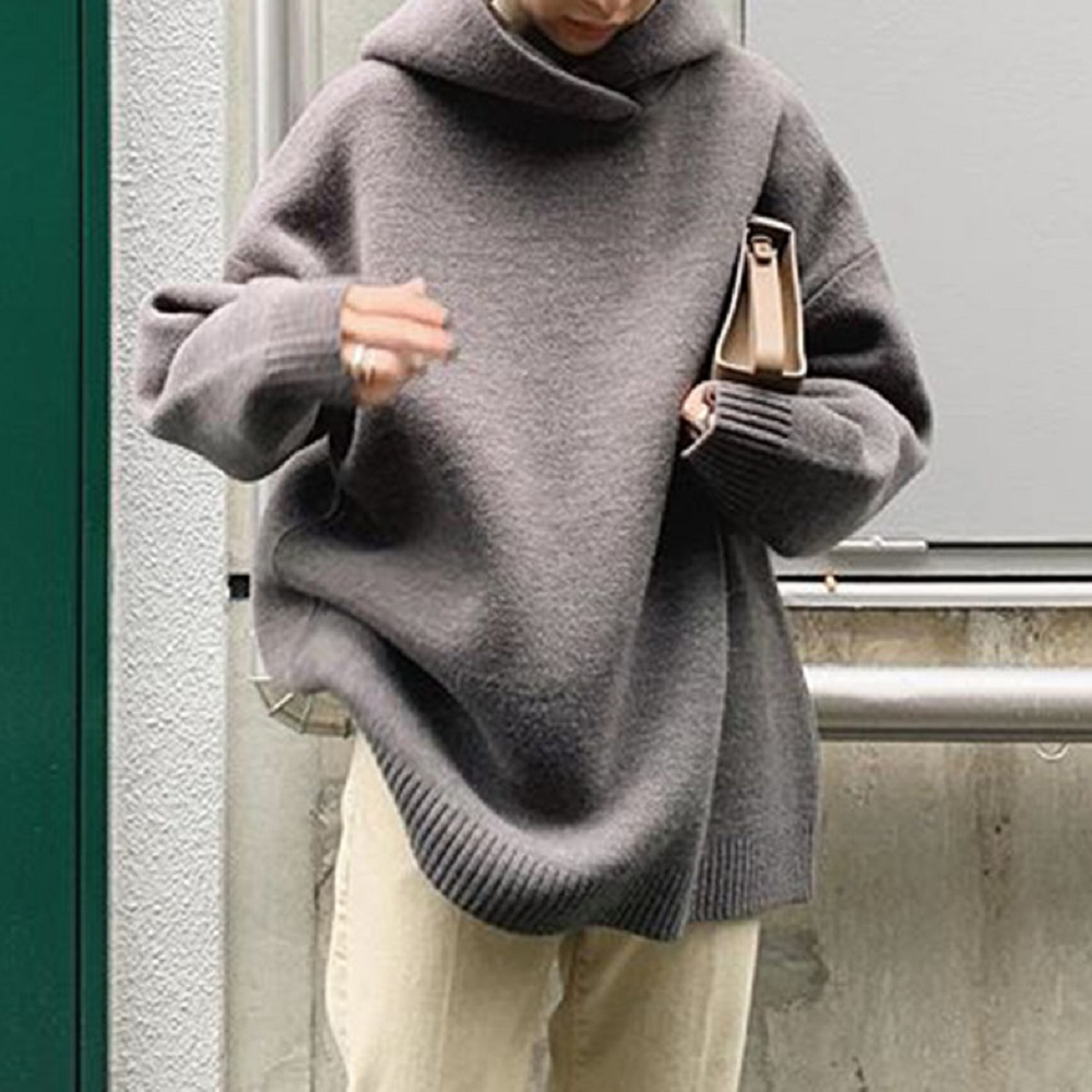 Autumn High Neck Hoodies Women Thick Warm Solid Gray Loose Turtleneck Pullovers Korean Office Ladies Basic Causal Tops Minimalis