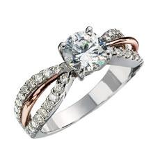 Huitan-anneaux de mariage pour femmes, en forme d'arc délicat, deux tons et 4 griffes, rondes en pierre Zircon, en cristal, à la mode, bijoux de mariage, cadeau de beauté