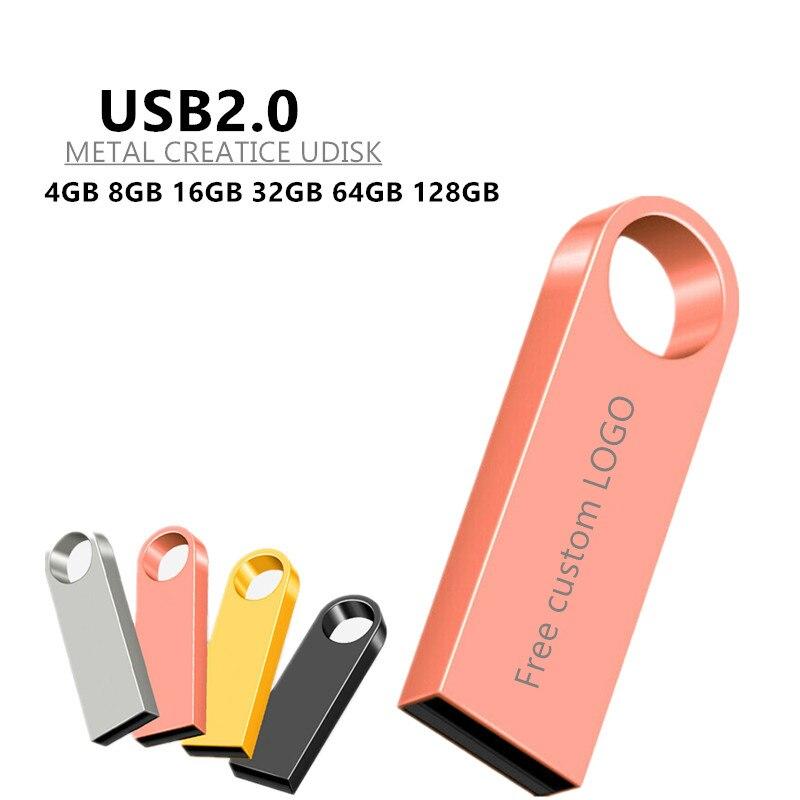 usb flash drive 128GB 64GB 32GB 16GB 8GB pen drive pendrive waterproof metal silver u disk memoria cel usb stick gift Free LOGO-in USB Flash Drives from Computer & Office