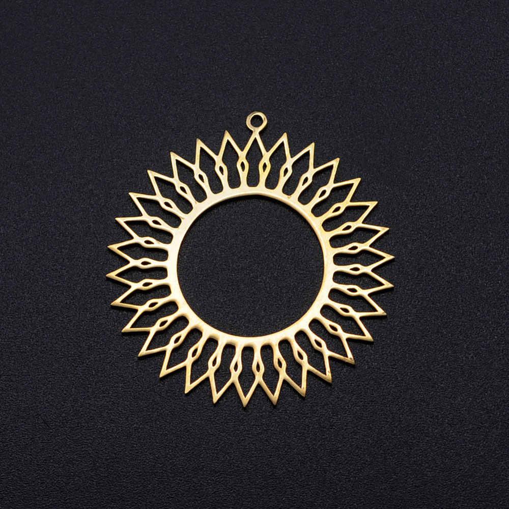 3 ชิ้น/ล็อตBig Flower Of LifeสแตนเลสDiyจี้ต่างหูขายส่งGolden Sun Star Dream Catcherสร้อยคอCharms