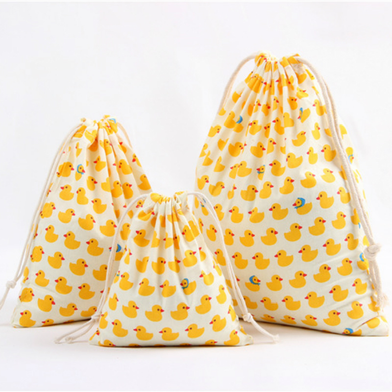 3 Size Animals Design Printed Drawstring Bag Pocket Storage Small Yellow Duck Kiwi Pattern Backpack Women Cotton Fabric Bags