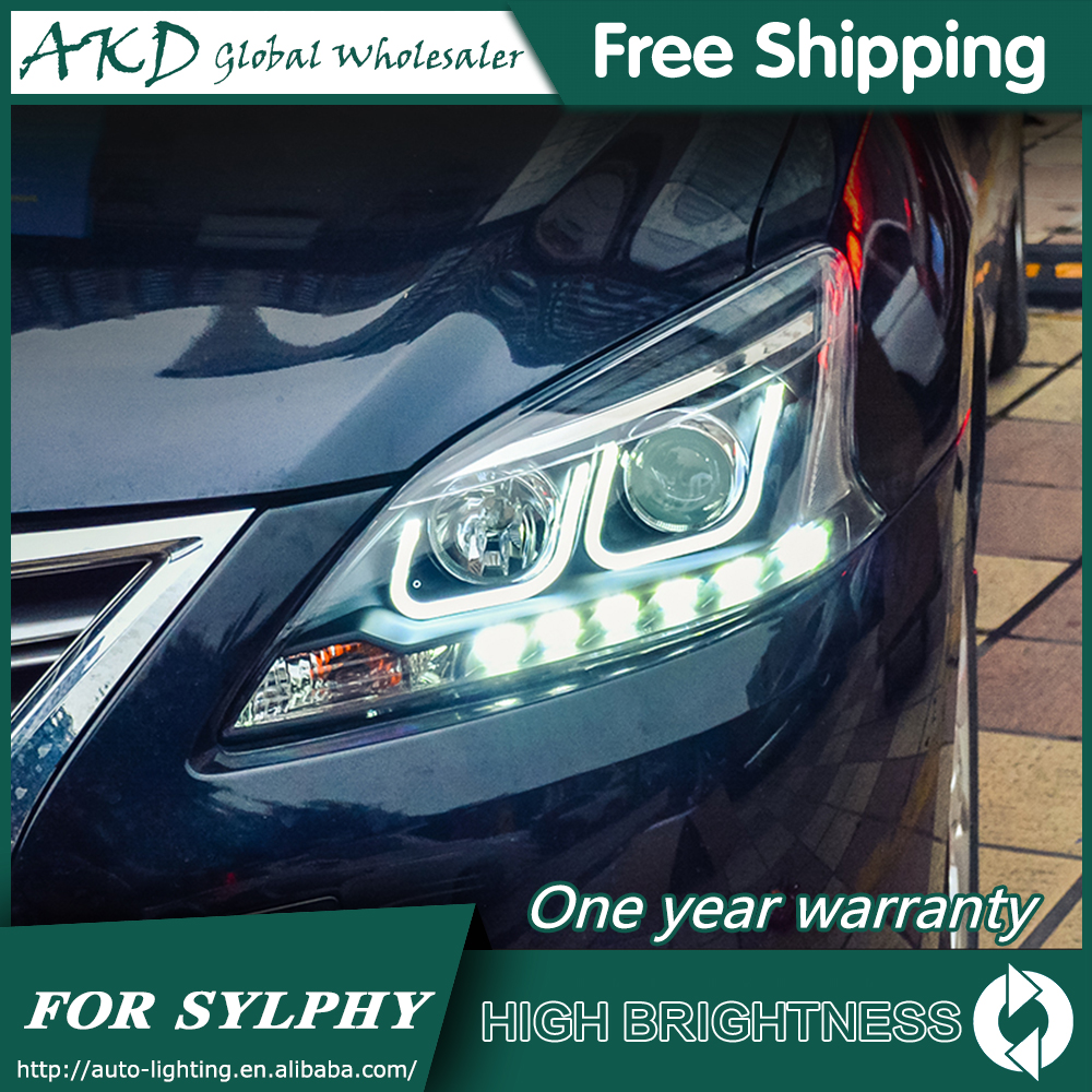 AKD Car Styling For Nissan Sylphy Headlights 2012-2015 Sentra LED Headlight LED DRL Bi Xenon Lens High Low Beam Parking