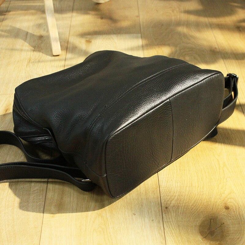 Mochila femmes sac à dos en cuir concepteur véritable cuir de vachette sac d'école dame Double fermeture éclair grande capacité Bookbag Simple sac à dos - 2