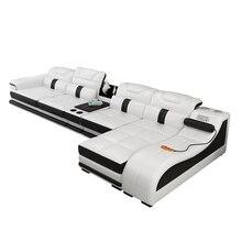 гостиная комната массаж диван L форма угол натуральная кожа диван Nordic динамик звук система радио Iphone зарядка USB Bluetooth