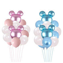 12 pçs mickey minnie mouse cabeça folha de alumínio balão festa de aniversário festa de casamento balão de látex decorativo conjunto balão