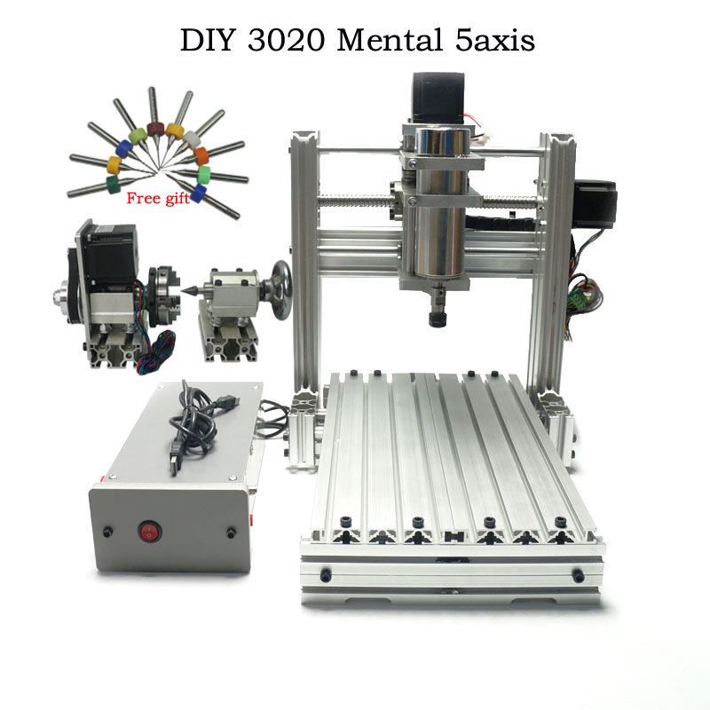 DIY CNC 3020 Metal CNC Router 5axis Drilling And Milling Machine For Hobby PCB Engraving Machine