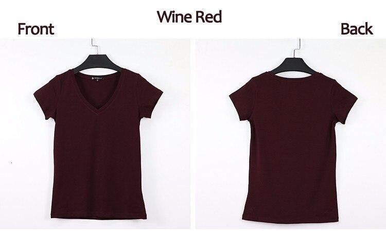 High Quality V-Neck 15 Candy Color Cotton Basic T-shirt Women Plain Simple T Shirt For Women Short Sleeve Female Tops 077 8