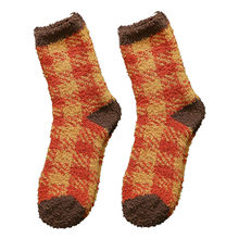 Fashion Home Women Plaid Knitted Soft Bed Floor Socks Female Warm Boots Sleeping Mid Ankle Socks Lady Hip Hop Cotton tube socks(China)