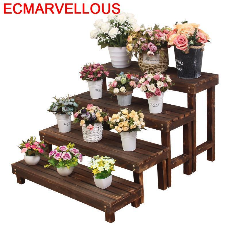 Wood Indoor Jardin Etagere Pour Plante Estanteria Para Plantas Rack Outdoor Flower Stojak Na Kwiaty Dekoration Plant Stand